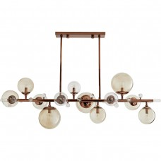 Arteriors 89331 Troon 12 Light 56 inch Brown Nickel Linear Chandelier Ceiling Light
