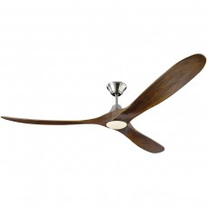 Monte Carlo Fans 3MAVR70BSD Maverick Max LED 70 inch Brushed Steel with Dark Walnut Blades Indoor Ceiling Fan