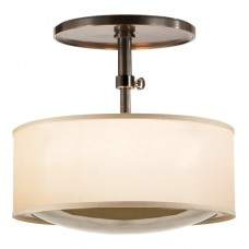 Visual Comfort Barbara Barry Reflection Semi-Flush Pendant in Bronze with Silk Shade BBL5024BZ-S