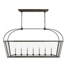 Visual Comfort CHC5438BZ-CG E. F. Chapman Plantation 7 Light 54 inch Bronze Linear Pendant Ceiling Light, Large