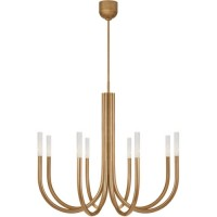 Visual Comfort KW5581AB-SG Kelly Wearstler Rousseau LED 39 inch Antique-Burnished Brass Chandelier Ceiling Light, Medium