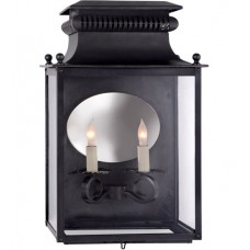 Visual Comfort SK2326BC Suzanne Kasler Honore 2 Light 18 inch Blackened Copper Outdoor Sconce, Suzanne Kasler, Medium, 3/4, Clear Glass
