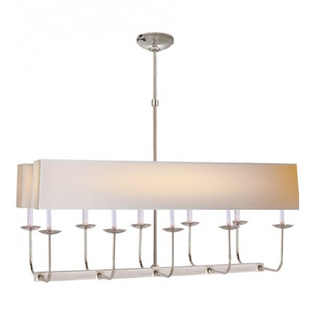 Visual Comfort SL5863PN-NP2 E. F. Chapman Linear Branched 10 Light 36 inch Polished Nickel Linear Pendant Ceiling Light in Long Natural Paper