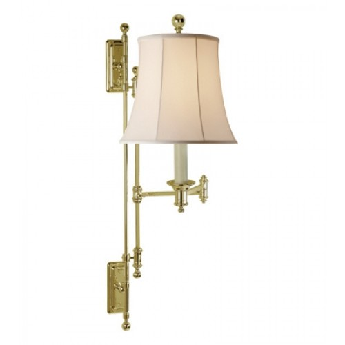 Visual Comfort Rl11095bn S Ralph Lauren Kerry Swing Arm Wall Lamp In Natural Br With Silk Shade