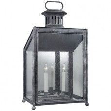 Visual Comfort RL2802GZ-RG Ralph Lauren Mills Large Wall Lantern In Garden Zinc With Restoration Glass