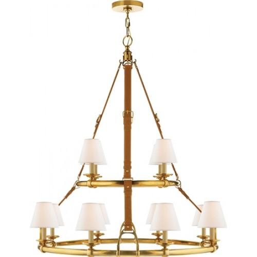 Visual Comfort Rl5183nb L Ralph Lauren Westbury Double Tier Chandelier In Natural Br And Saddle Leather