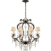 Visual Comfort RL5230AG-S Ralph Lauren Adrianna Small Chandelier In Antique Gild With Antiqued Crystals And Silk Shades