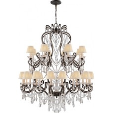 Visual Comfort RL5233AG-S Ralph Lauren Adrianna Large Chandelier In Antique Gild With Antiqued Crystals And Silk Shades