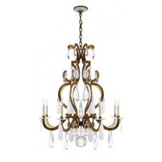 Visual Comfort RL5241GI-CGQ Ralph Lauren Marie Chandelier In Gilded Iron With Crystal, Quartz, And Glass