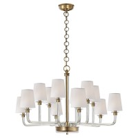Visual Comfort RL5247CG-NB-S Ralph Lauren Ceiling Lights Parker Large Chandelier In Natural Brass And Crystal With Silk Shade