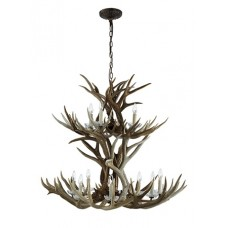 Visual Comfort RL5529BN Ralph Lauren Straton Double Tier Chandelier In Natural Antler