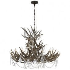 Visual Comfort RL5531BN-CG Ralph Lauren Straton Wide Chandelier In Bone With Crystal