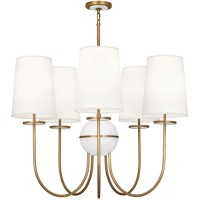 Robert Abbey 1523 Fineas 5 Light 35 inch Aged Brass with Alabaster Stone Chandelier Ceiling Light in Fondine Fabric, Alabaster Stone Accent