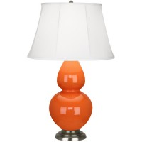 Robert Abbey 1675 Double Gourd 31 inch 150 watt Pumpkin with Antique Silver Table Lamp Portable Light in Ivory Silk