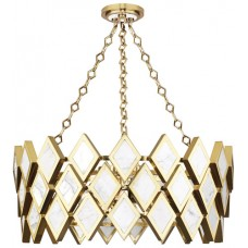 Robert Abbey 384 Edward 4 Light 26 inch Modern Brass with White Marble Chandelier Ceiling Light