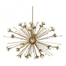 Robert Abbey 714 Jonathan Adler Sputnik 24 Light 48 inch Antique Brass with Crystal Chandelier Ceiling Light