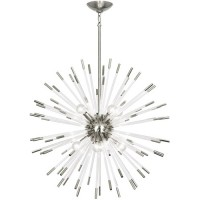 Robert Abbey S166 Andromeda 8 Light 28 inch Polished Nickel with Clear Acrylic Rods Chandelier Ceiling Light
