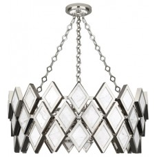 Robert Abbey S384 Edward 4 Light 26 inch Polished Nickel with White Marble Chandelier Ceiling Light