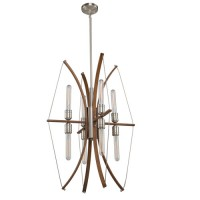 Artcraft AC11483 Arco 8 Light 22 inch Faux Wood and Brushed Nickel Chandelier Ceiling Light