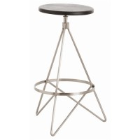 Arteriors 2413 Wyndham 25 inch Black Stain and Polished Nickel Swivel Counter Stool