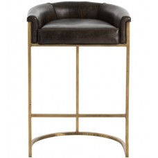 Arteriors 2803 Calvin 35 inch Brindle Leather/Antique Brass Bar Stool