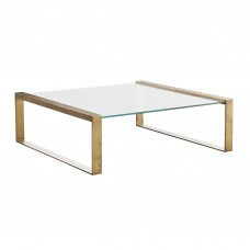 Arteriors 4305 Jocelyn Coffee Table In Antique Brass With Clear Glass
