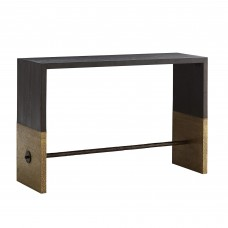 Arteriors 4379 Lyle 52 Inch Cerused Sable Stained Finish Solid Oak/Antique Brass Clad/Natural Iron Console Table