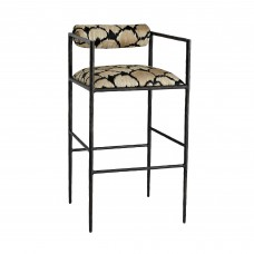 Arteriors 4707 Barbana 39 Inch Ocelot Embroidery Linen/ Natural Iron Bar Stool