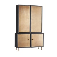 Arteriors 5523 Kilpatrick Ebony Stained Finish Solid Oak/Burnished Gold Leaf Tall Cabinet