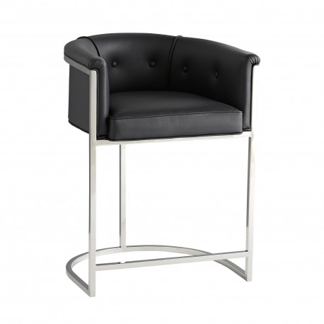 Arteriors 6889 Calvin 33 Inch Black Leather/Polished Nickel Polished Counter Stool