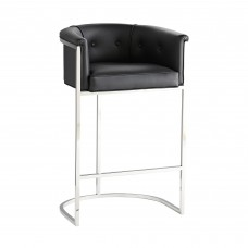 Arteriors 6890 Calvin 39 Inch Black Leather/Polished Nickel Bar Stool