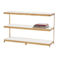Arteriors 6981 Hattie 47 inch Gold Leaf and White Console Table
