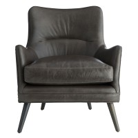 Arteriors 8013 Seger 35 Inch Graphite Leather Grey Ash Upholstered Chair