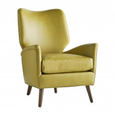 Arteriors 8071 Beck 36 Inch Citron Leather Dark Walnut Upholstered Chair