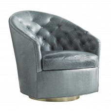 Arteriors 8084 Capri 33 Inch Juniper Leather Champagne Swivel Upholstered Chair