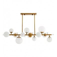 Arteriors 89330 Troon 12 Light 56 inch Antique Brass Linear Chandelier Ceiling Light