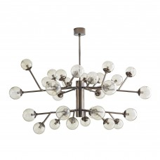 Arteriors 89462 Dallas 30 Light 58 Inch Two Tiered Chandelier In Brown Nickel/Smoke Glass