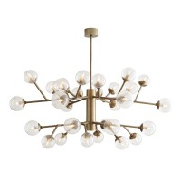 Arteriors 89463 Dallas 30 Light 58 Inch Two Tiered Chandelier In Vintage Brass/Clear Seedy Glass
