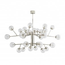 Arteriors 89464 Dallas 30 Light 58 Inch Two Tiered Chandelier In Polished Nickel/Clear Glass