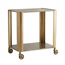 Arteriors DC2003 Tinsley Back Painted Glass/Vintage Brass Bar Cart