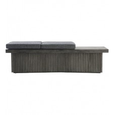 Arteriors DJ5013 Bowie Natural Concrete and Midnight Tweed Bench