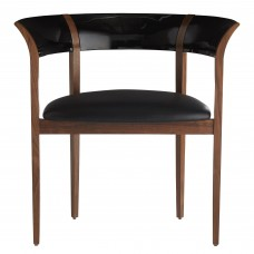 Arteriors 5513 Jago 29 Inch Black Lacquered Solid Oak Accent Chair