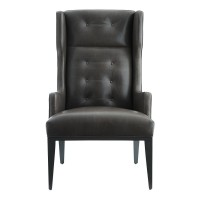 Arteriors DJ8083 Idol 45 Inch Graphite Leather Grey Ash Wing Chair