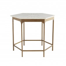 Arteriors 6880 Mae 28 Inch White Marble/Antique Brass Inlay End Table