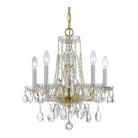 Crystorama 1061-PB-CL-SAQ Traditional Crystal 5 Light 18 inch Polished Brass Mini Chandelier Ceiling Light