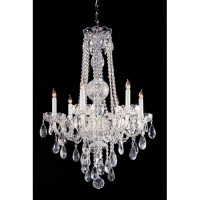 Crystorama 1105-CH-CL-MWP Traditional Crystal 6 Light 22 inch Polished Chrome Chandelier Ceiling Light in Clear Hand Cut