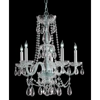 Crystorama 1125-CH-CL-SAQ Traditional Crystal 5 Light 26 inch Polished Chrome Chandelier Ceiling Light
