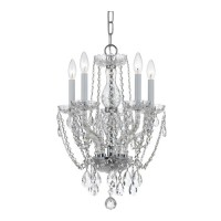 Crystorama 1129-CH-CL-S Traditional Crystal 5 Light 14 inch Polished Chrome Mini Chandelier Ceiling Light