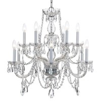 Crystorama 1135-CH-CL-MWP Traditional Crystal 12 Light 31 inch Polished Chrome Chandelier Ceiling Light in Polished Chrome (CH), Clear Hand Cut