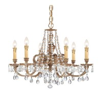 Crystorama 2806-OB-CL-MWP Novella 6 Light 25 inch Olde Brass Chandelier Ceiling Light in Clear Hand Cut